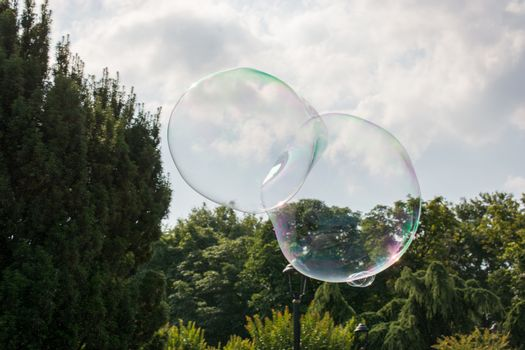 Blown soap bubbles float in air in view