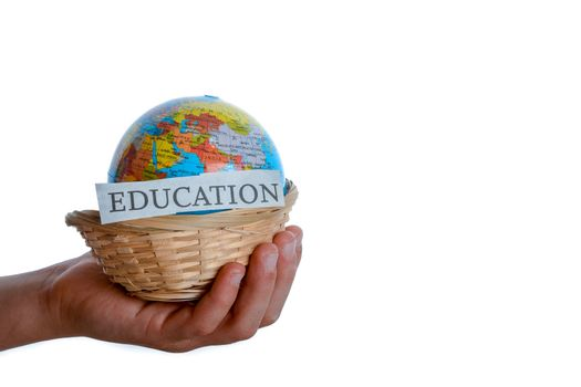 education in one hand and globe in one hand in a basket