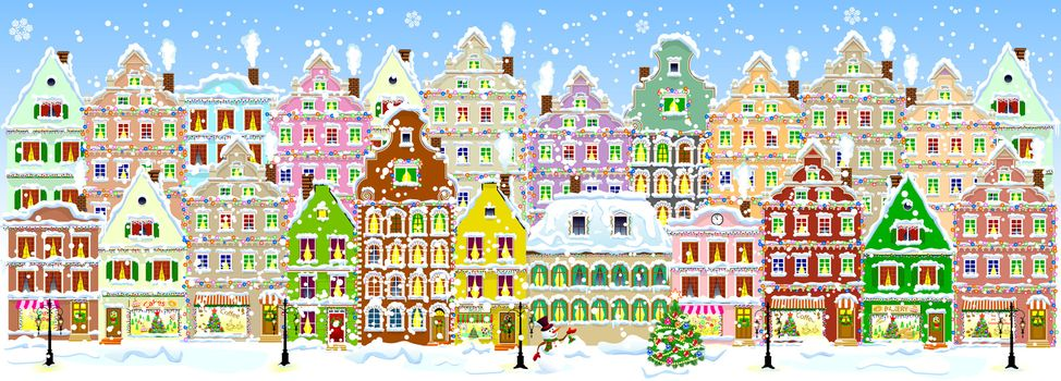 City street in winter. Christmas Eve. The winter vacation. The houses are covered with snow. Snow on a city street. Houses decorated before the winter holidays.  Snow-covered city street.