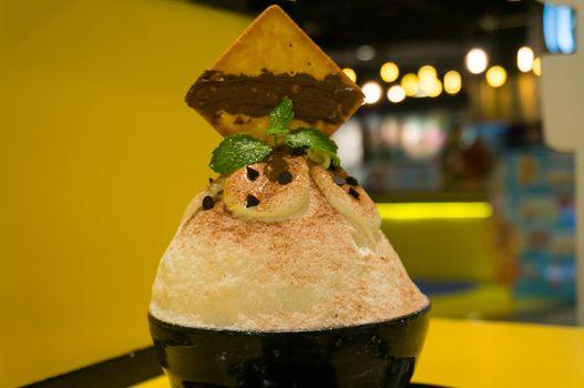 Shaved ice Korean Binsu is shaved ice with chocolate ice-cream,