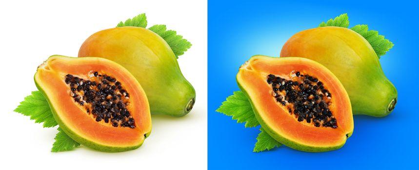 Papaya fruit isolated on white background with clipping path