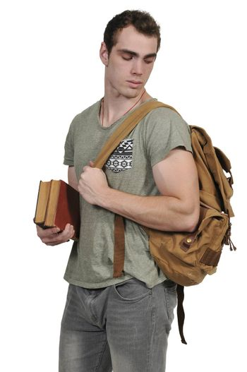 Man student with a back pack or book bag
