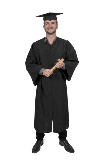 Young man in his graduation robes