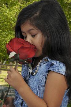 Little girl holding a fresh cut rose