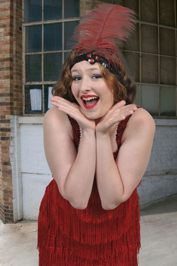 Woman dressed as a 1920s flapper girl