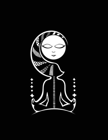 Fantasy background with a woman yogi. Black and white. Vector.