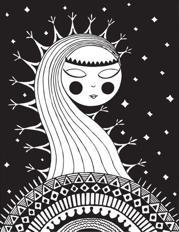 Fantasy Halloween background. Black and white. Vector.