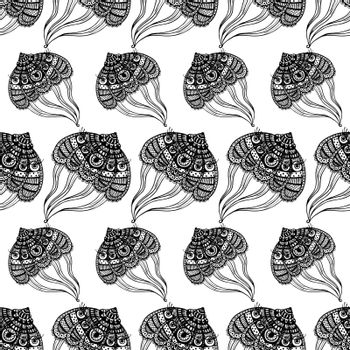 seamless pattern with abstract large jellyfish. vector. isolate. Black and white