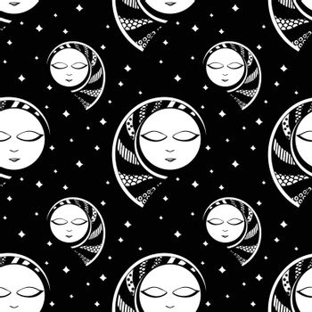 seamless background with moon. black and white. vector.