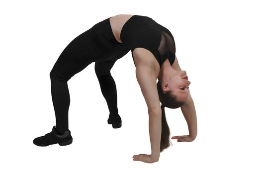 Beautiful woman exercising by doing an inverted crab walk