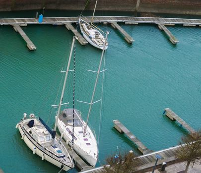The docks of Vlissingen with some typical dutch boats, Zeeland, The Netherlands