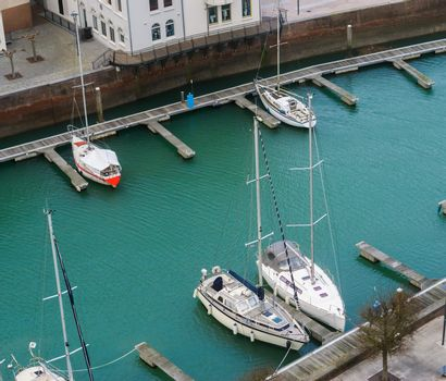 typical dutch scenery, Docks of Vlissingen with boats, Zeeland, the Netherlands