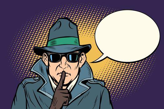 spy shhh gesture man silence secret