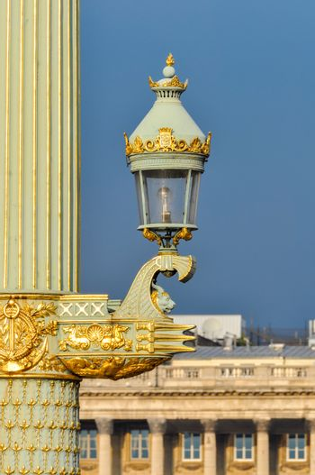 Beautiful street lamp detail on Concorde Square in Paris, France