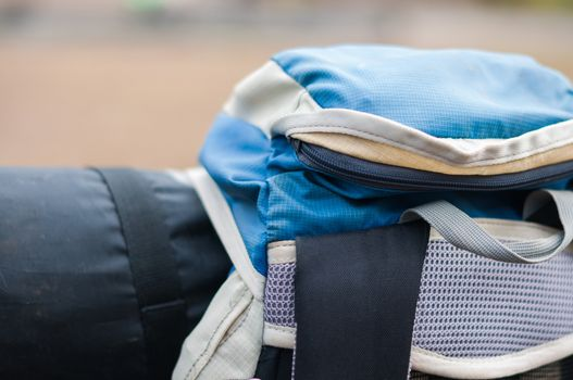 Closeup of travel backpack