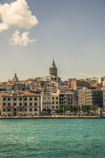 View of the Galata Tower from ancient times in Istanbul