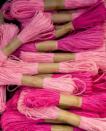 Bundle of colorfulrope  in view in a market place