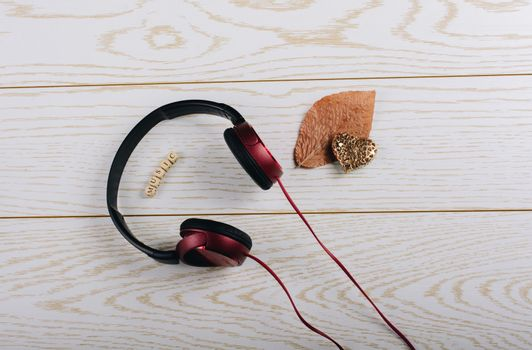 Headphones, dried leaf, steel heart and music written cubes on wooden background