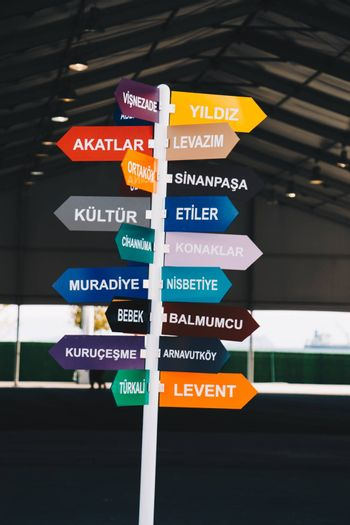 Colorful direction signs in Istanbul city, Turkey, in display