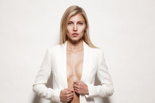 Fashion blond model posing