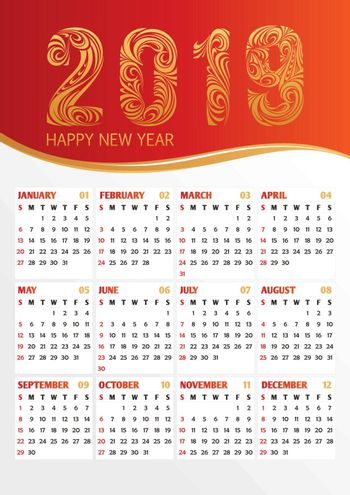 2019 year office calendar with calligraphic stylized numbers. Vector illustration