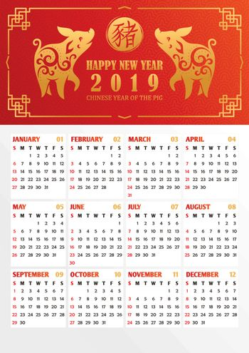 2019 year calendar with stylized pigs. Translation of the chinese hieroglyph to english: pig. Vector illustration.