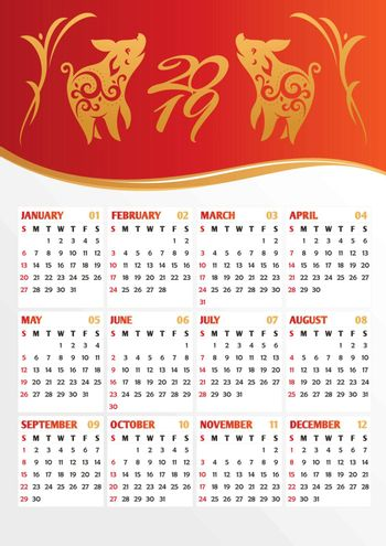 2019 year calendar with stylized pigs