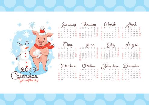 2019 New Year calendar with a pig and a snowman.