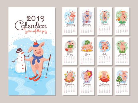 2019 year calendar with cartoon stylized pigs. Vector illustration