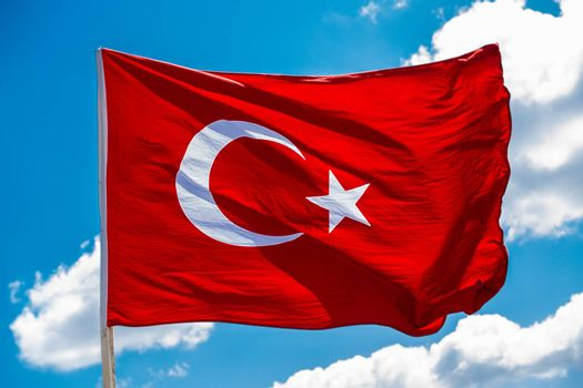 Turkish national flag hang in view in open air