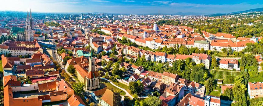 Zagreb cathedral and upper city aerial panoramic view, capital of Croatia