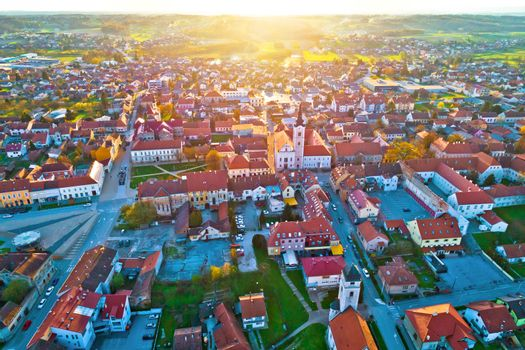 Colorful sunset above medieval town of Krizevci aerial view, Prigorje region of Croatia