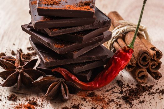 Chili Pepper with Chocolate and other Condiment