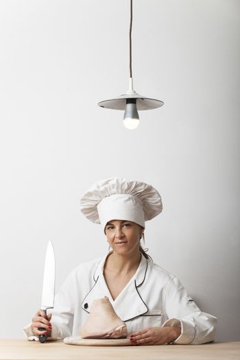 female chef with a knife