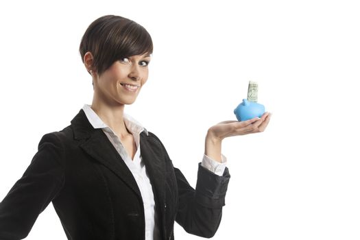 young business woman with a piggy bank