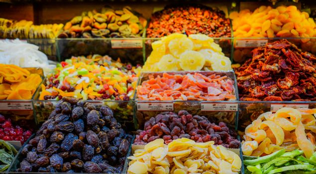 Different kind of dried fruit in a open market