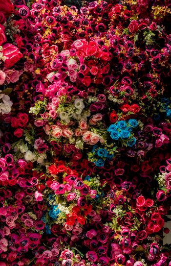 Floral art made of colorful artificial flowers in view