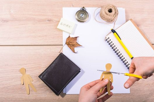 Materials and tools for hand work of art on a  desk