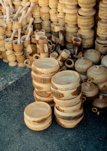 wooden empty bowls used for food eating