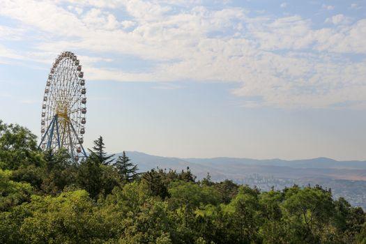 Ferris wheel in an amusement park in a green region