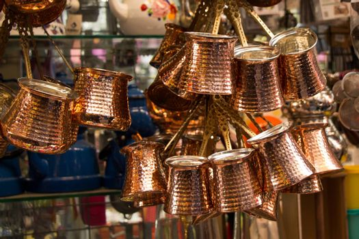 Turkish coffee pots made of metal in a traditional style