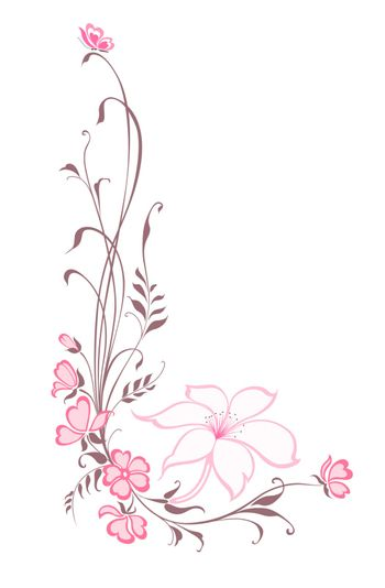Flowers decorative background. Vertical floral pattern with lilie.