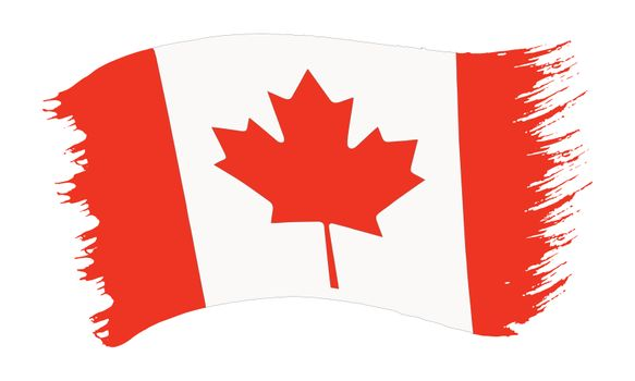 Vector illustration of brushstroke painted national flag of Canada with red maple leaf  isolated on white background