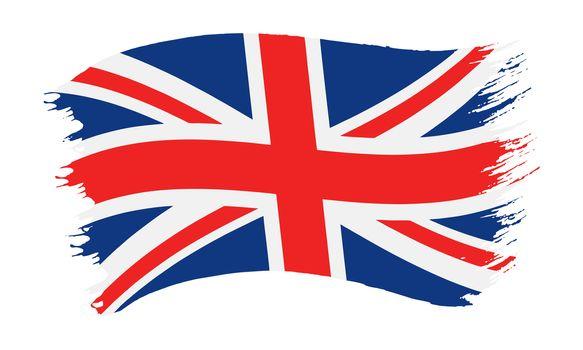 Vector illustration of brushstroke painted national flag of United Kingdom, Union Jack, isolated on white background