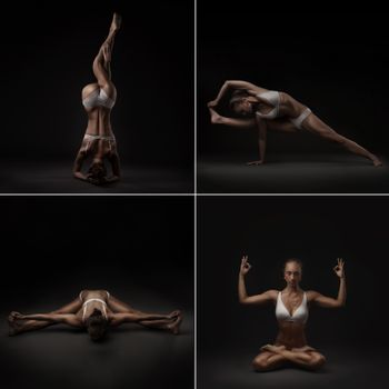Set of four studio shoots of healthy latino woman doing yoga isolated on dark gradient background