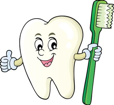 Tooth holding toothbrush theme image 1 - eps10 vector illustration.