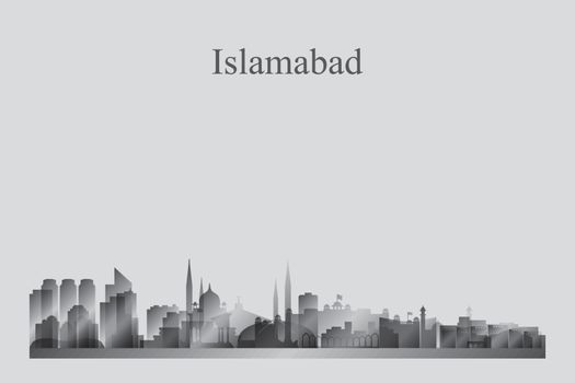 Islamabad city skyline silhouette in grayscale