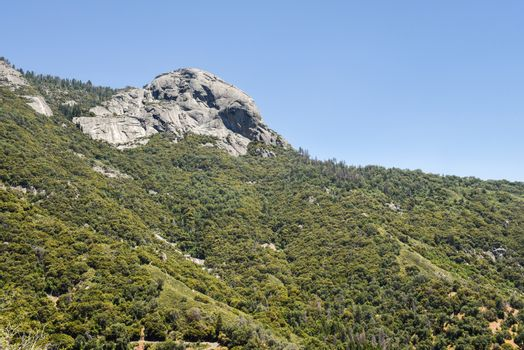 View of Moro Rock from the Generals Highway in Sequoia National Park, California