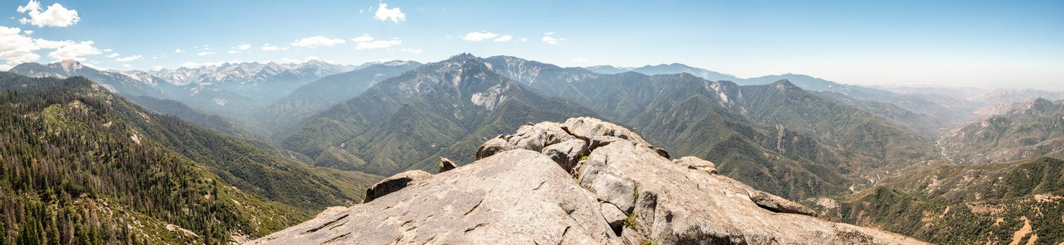Panorama view from Moro Rock in Sequoia National Park, California