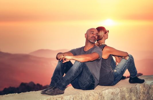 Peaceful couple in vacation